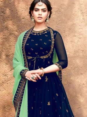 Embroidered Blue Georgette Salwar Suit