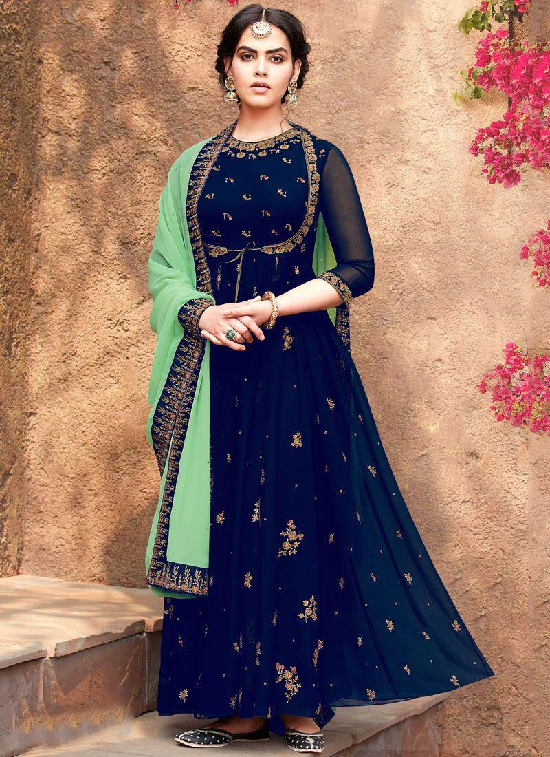 Embroidered Blue Georgette Salwar Suit