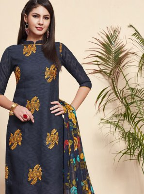 Embroidered Blue Jacquard Salwar Suit
