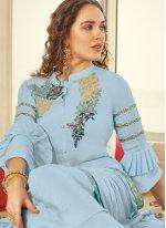 Embroidered Blue Muslin Trendy Palazzo Salwar Kameez