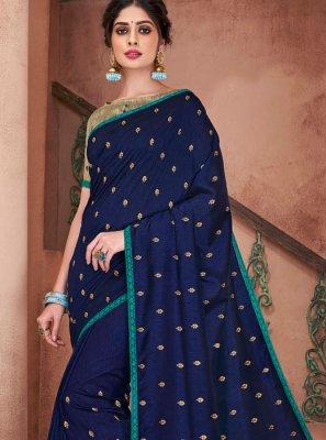 Embroidered Blue Poly Silk Trendy Saree