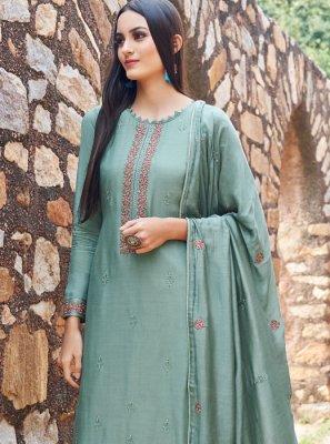 Embroidered Blue Salwar Suit