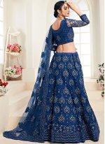 Embroidered Blue Satin Silk Trendy A Line Lehenga Choli