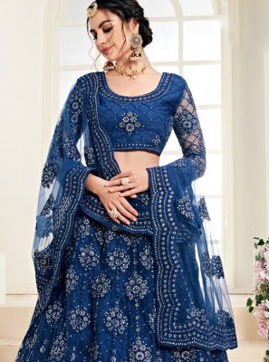 Embroidered Blue Satin Silk Trendy A Line Lehenga Choli