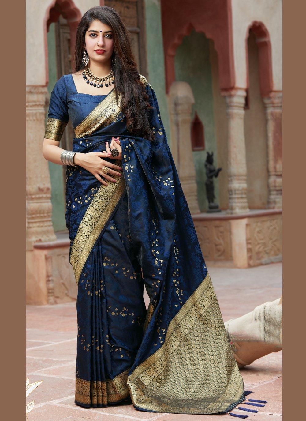 Embroidered Blue Silk Classic Saree