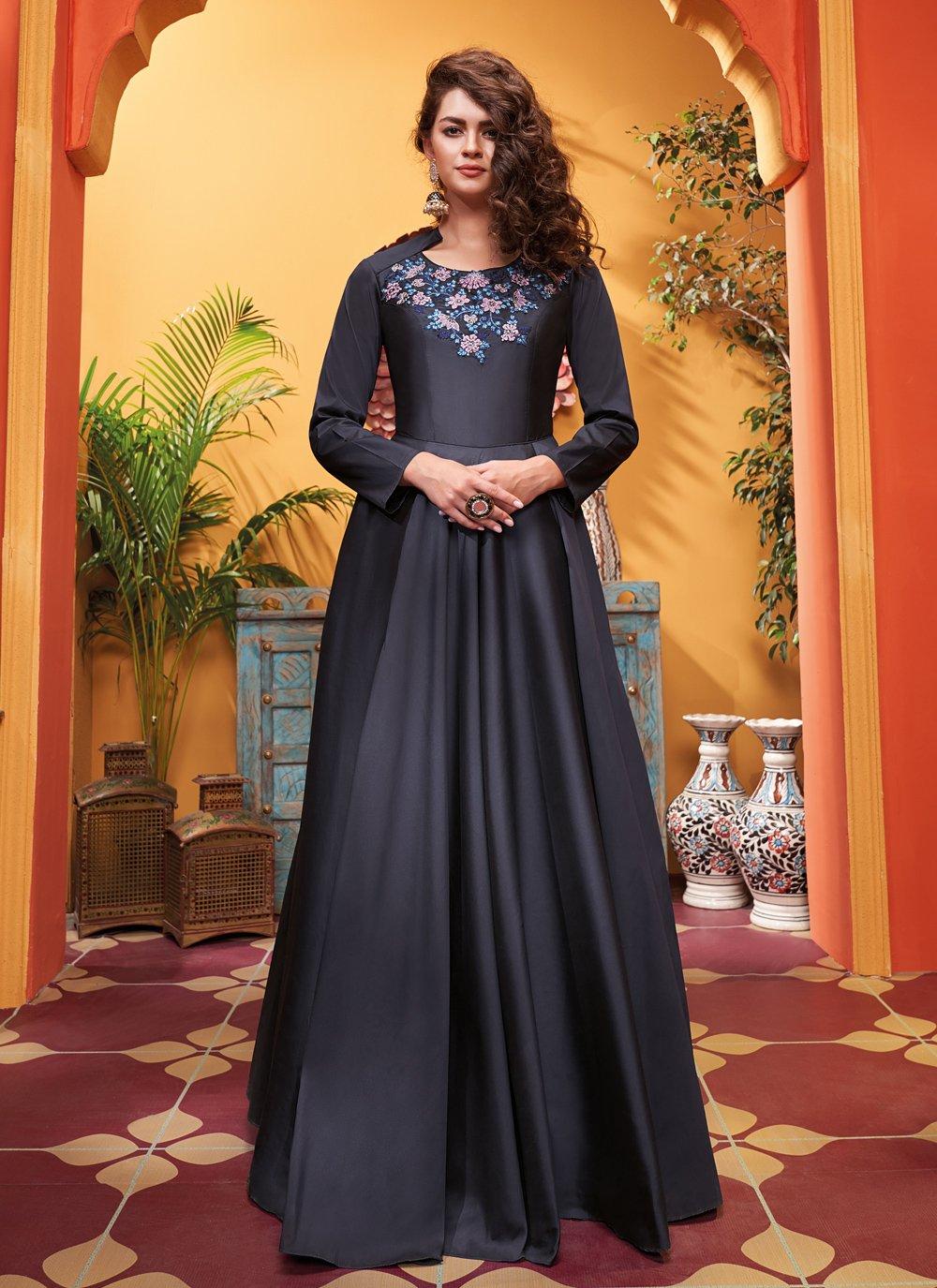 Embroidered Blue Silk Designer Gown