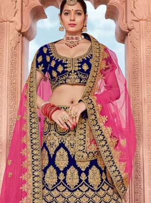 Embroidered Blue Velvet A Line Lehenga Choli