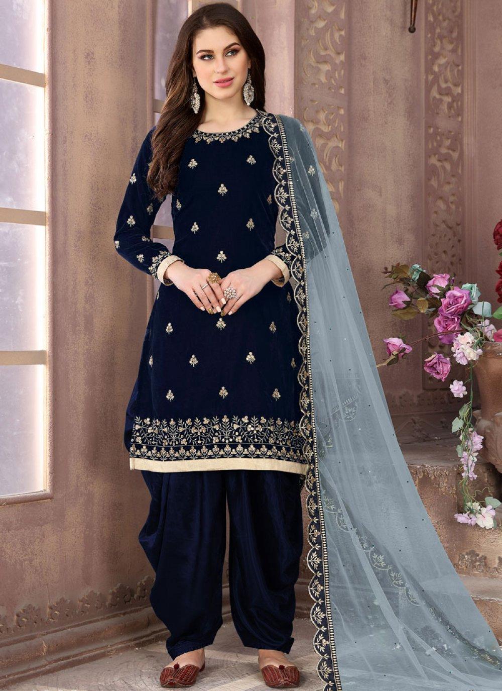 Embroidered Blue Velvet Patiala Salwar Suit