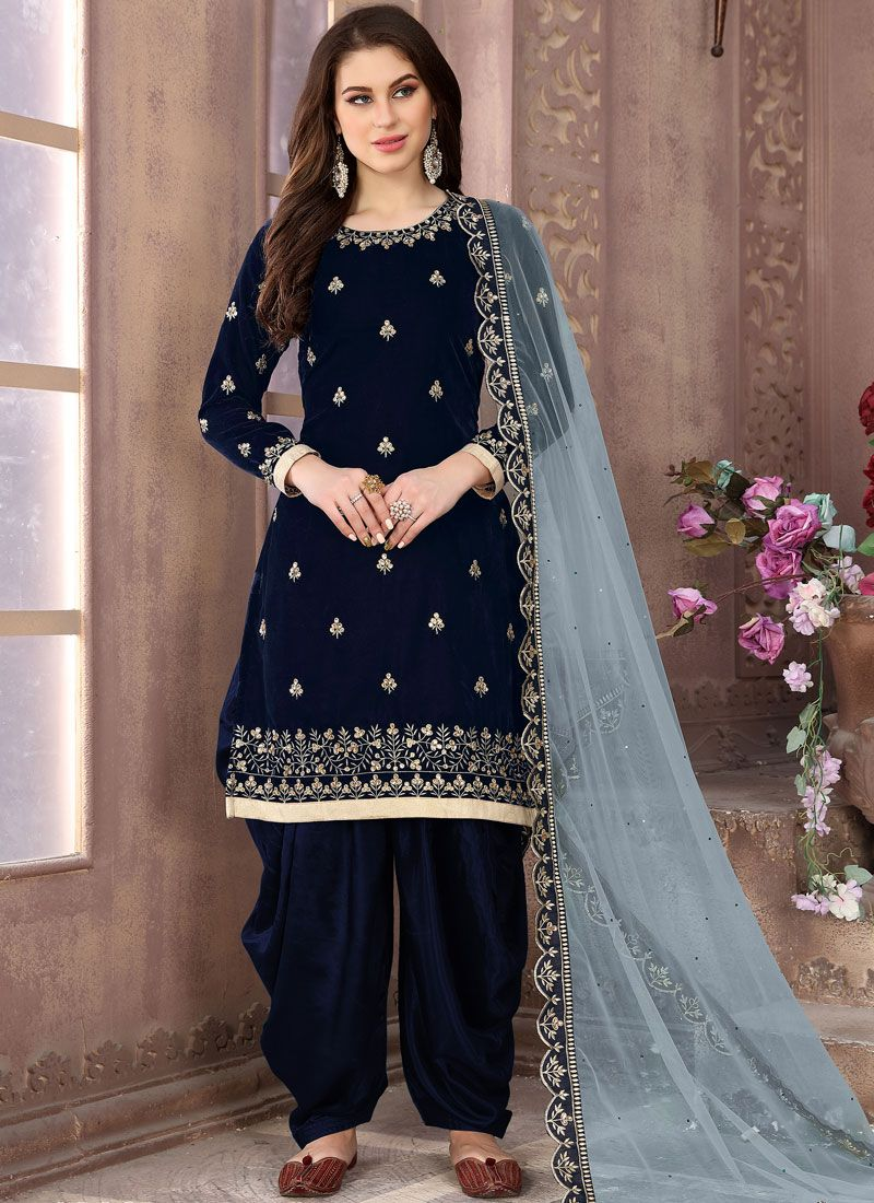 Embroidered Blue Velvet Patiala Salwar Suit