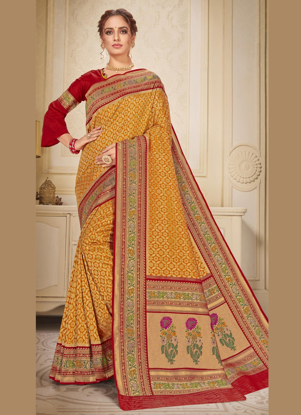 Embroidered Brocade Gold Contemporary Saree