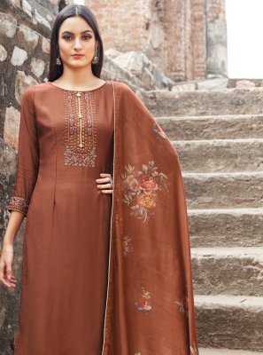 Embroidered Brown and Maroon Muslin Designer Palazzo Salwar Suit