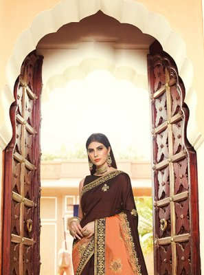 Embroidered Brown and Orange Art Silk Traditional Saree