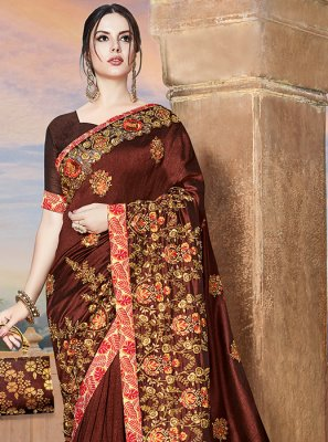 Embroidered Brown Designer Bridal Sarees