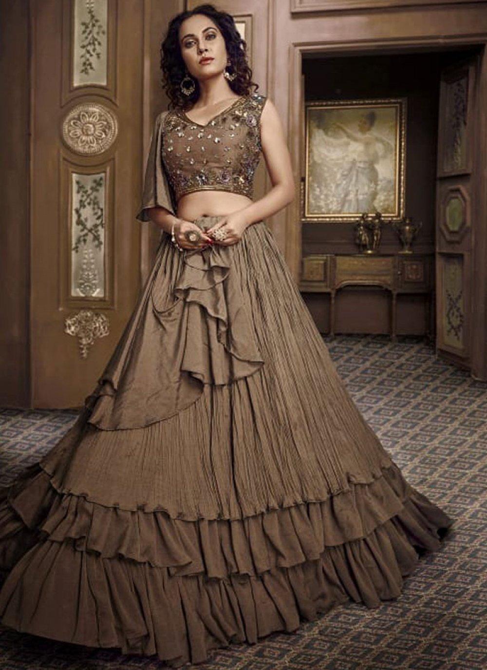 Embroidered Brown Fancy Fabric Designer Lehenga Choli