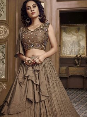 Embroidered Brown Fancy Fabric Designer Lehenga Choli