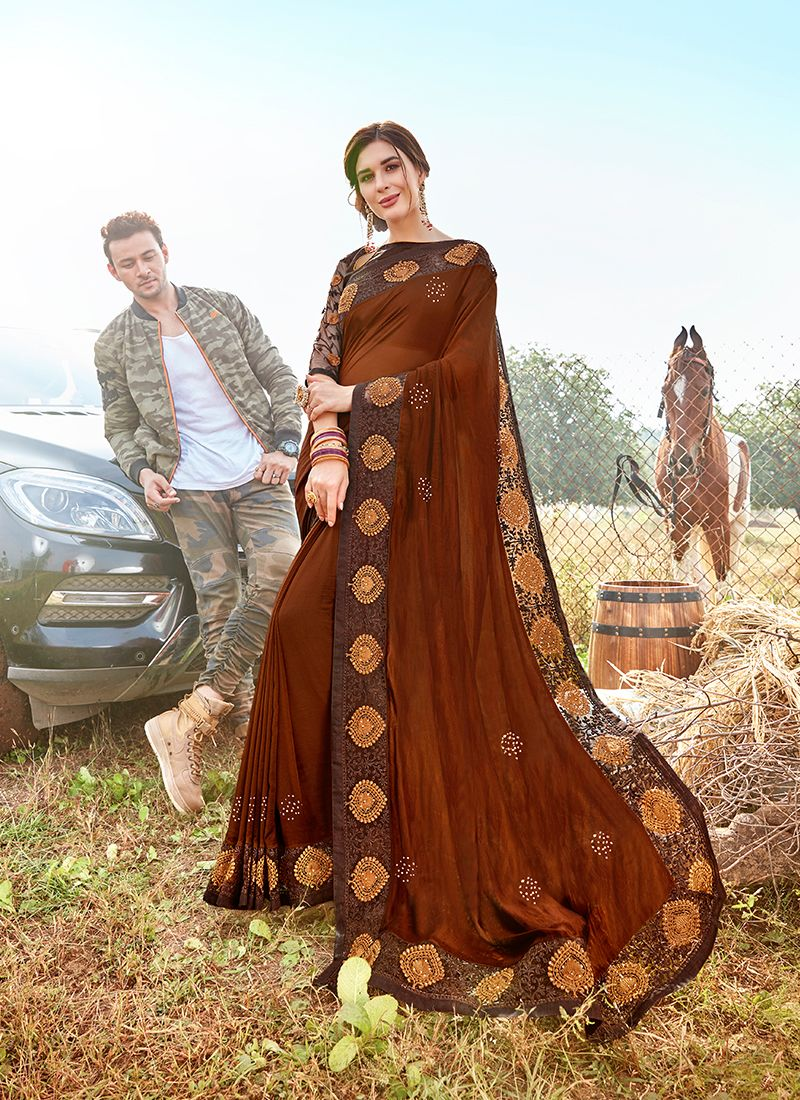 Embroidered Brown Georgette Satin Classic Designer Saree
