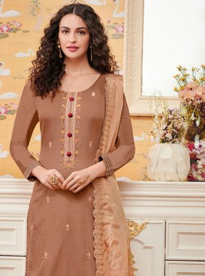 Embroidered Brown Palazzo Suit