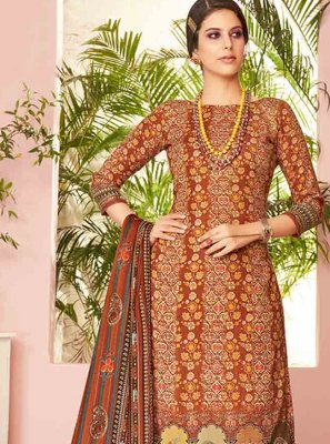 Embroidered Brown Pashmina Trendy Palazzo Suit
