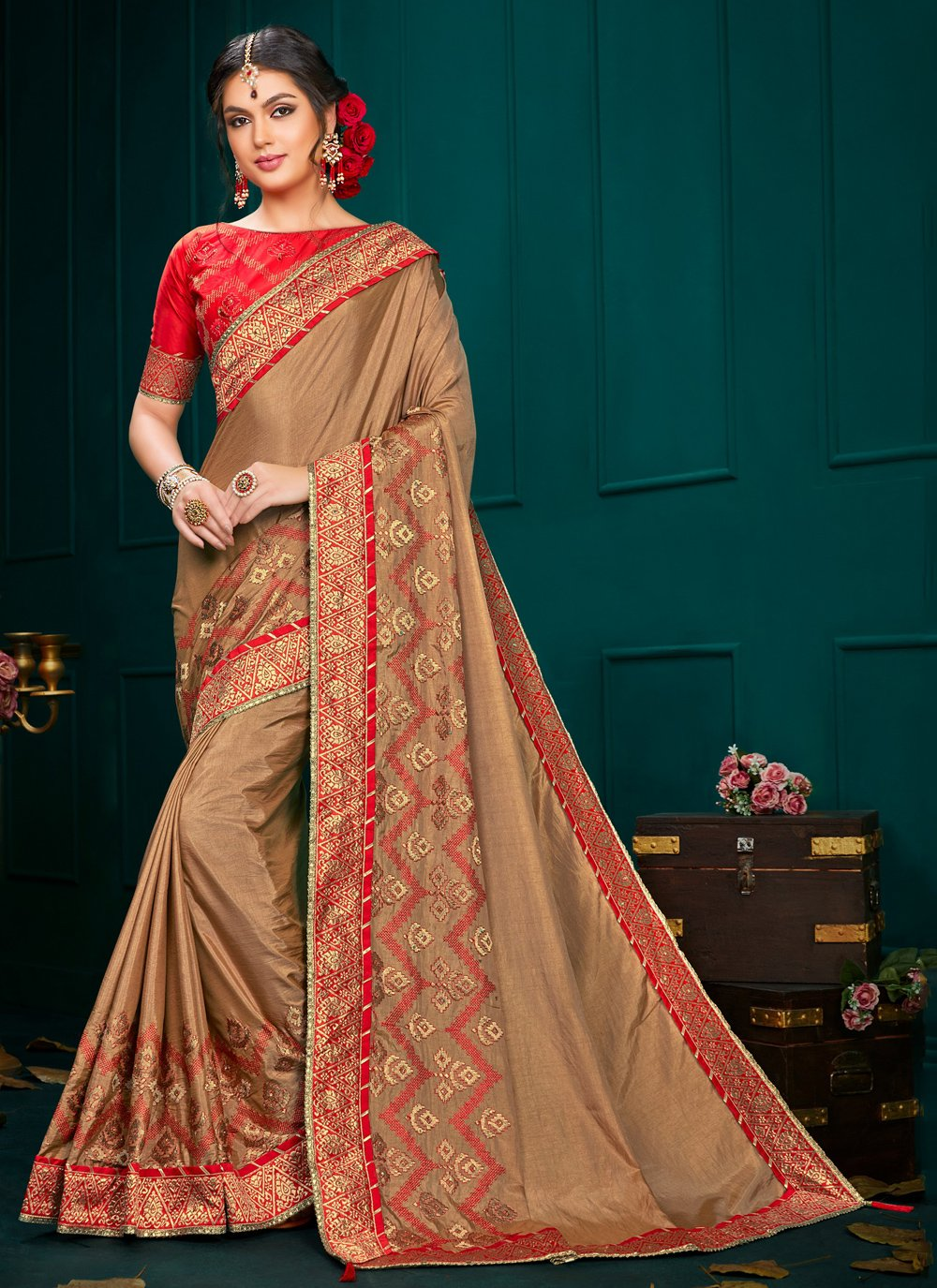 Embroidered Brown Poly Silk Classic Designer Saree