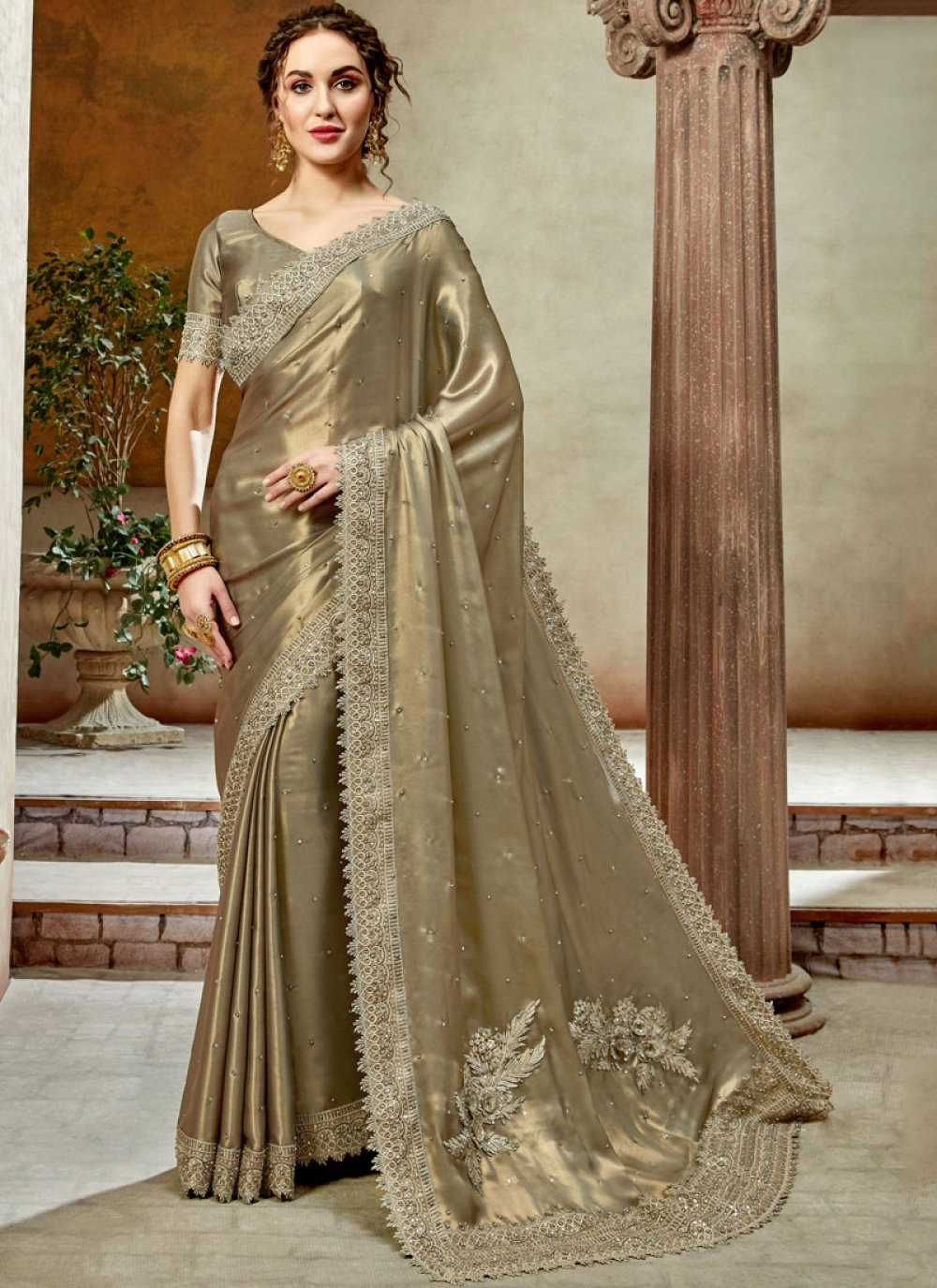 Embroidered Brown Satin Silk Trendy Saree