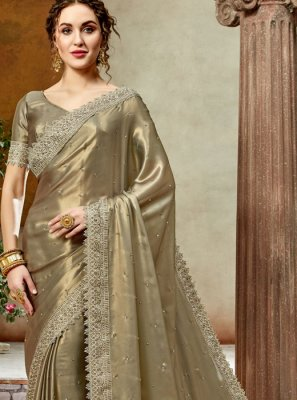Embroidered Brown Satin Silk Trendy Saree