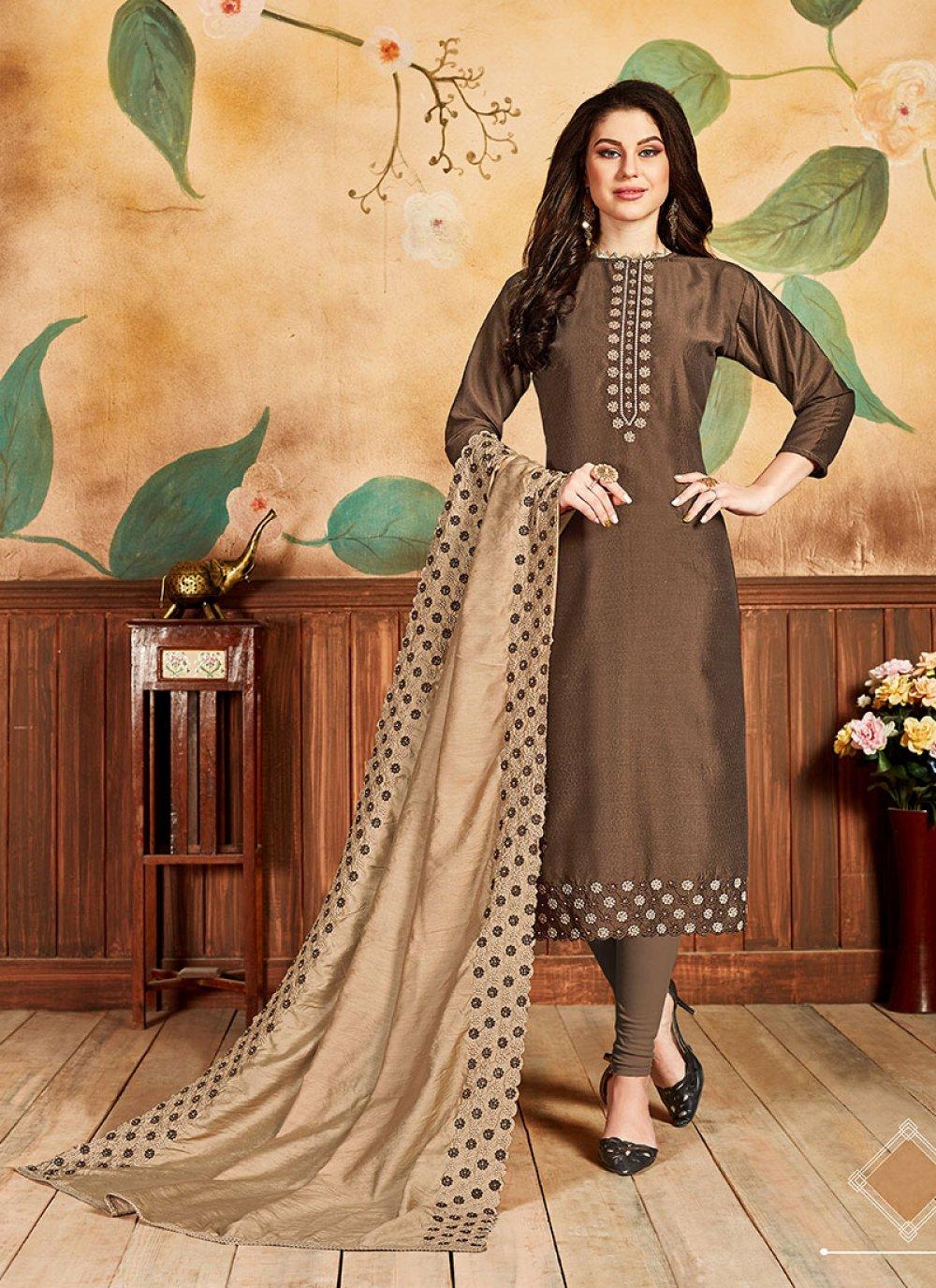 Embroidered Brown Silk Salwar Kameez