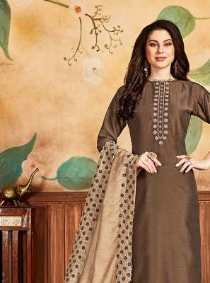 Embroidered Brown Silk Salwar Kameez