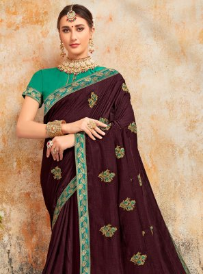 Embroidered Brown Silk Traditional Saree