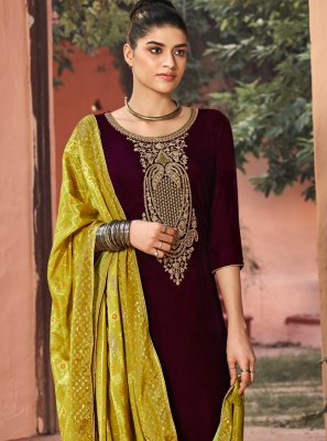 Embroidered Brown Velvet Salwar Suit