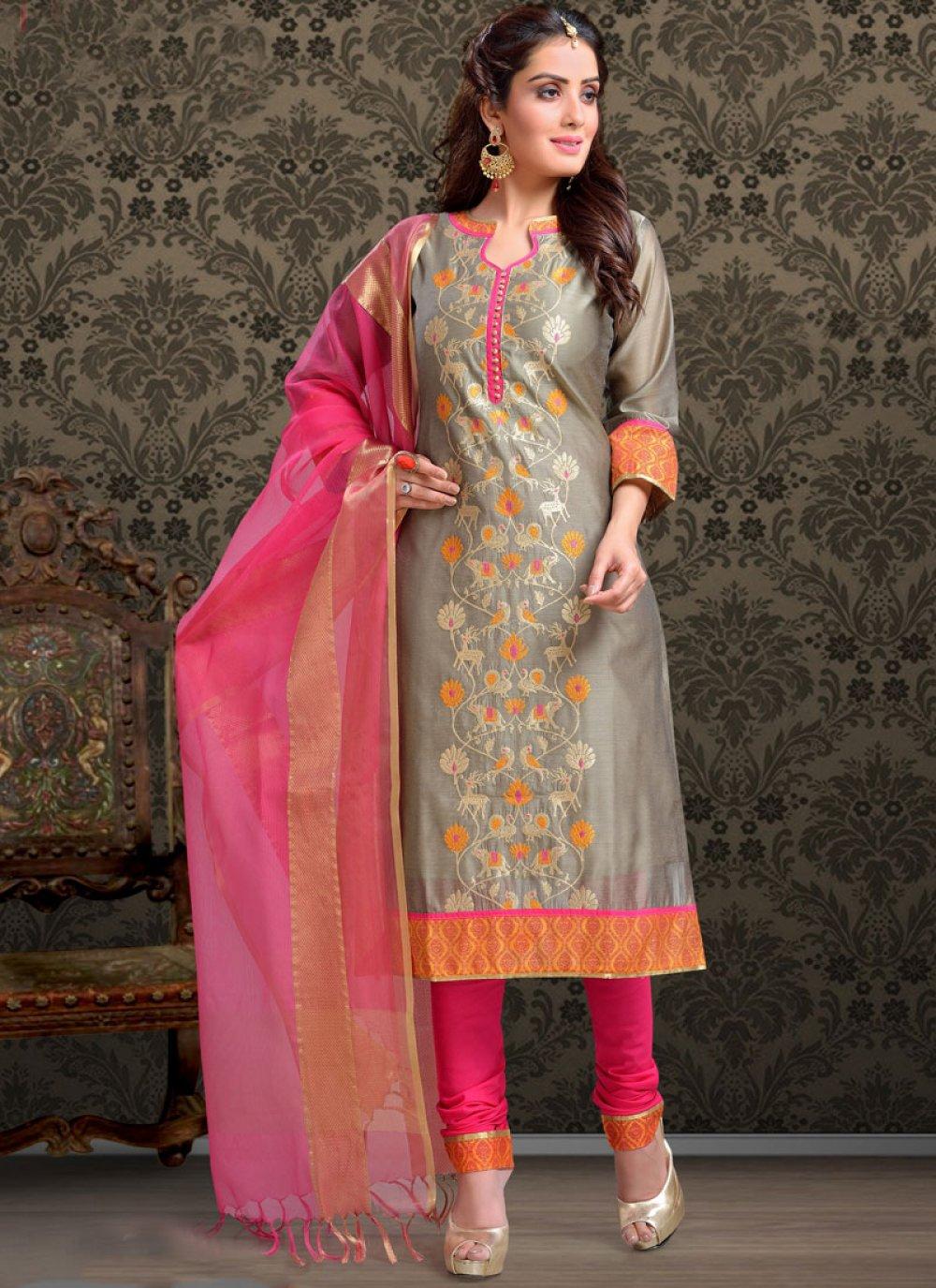 Embroidered Casual Trendy Churidar Salwar Kameez