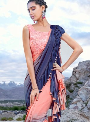 Embroidered Ceremonial Half N Half Trendy Saree