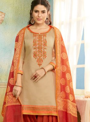 Embroidered Chanderi Beige Salwar Suit