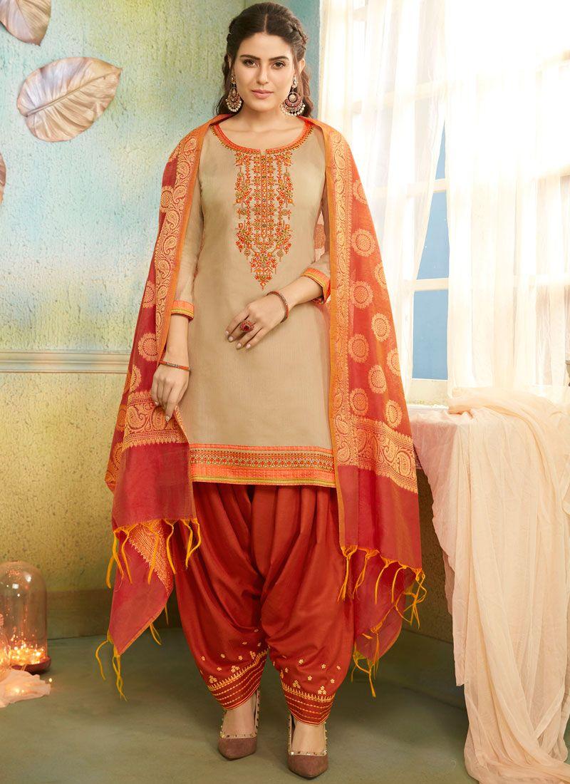 Embroidered Chanderi Beige Salwar Suit