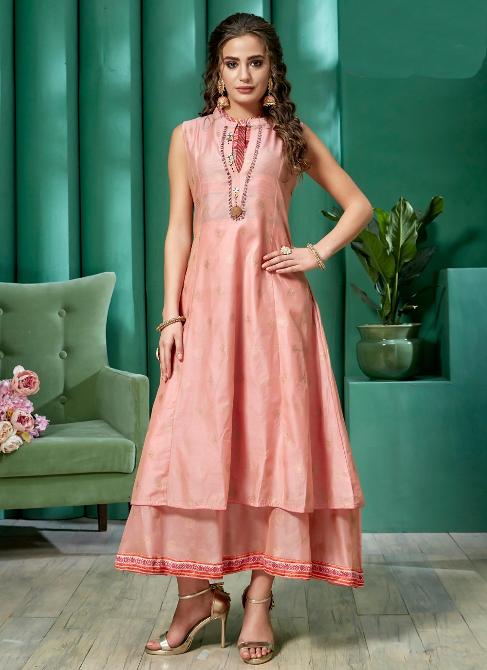 Embroidered Chanderi Casual Kurti