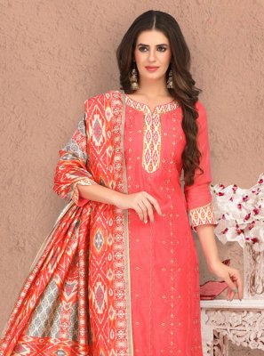 Embroidered Chanderi Churidar Salwar Kameez