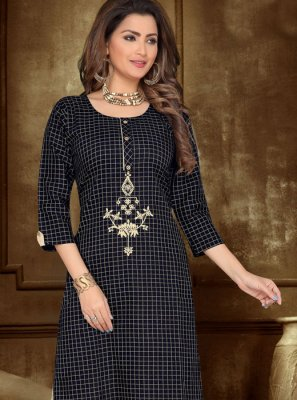 Embroidered Chanderi Cotton Casual Kurti