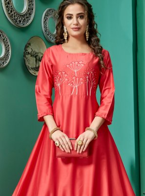 Embroidered Chanderi Designer Kurti
