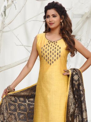 Embroidered Chanderi Designer Straight Salwar Suit in Yellow