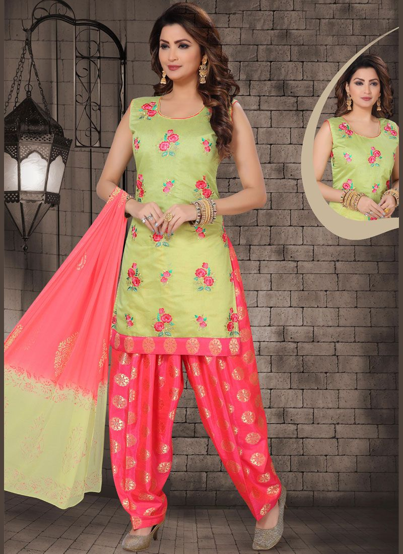 Embroidered Chanderi Green Designer Salwar Kameez