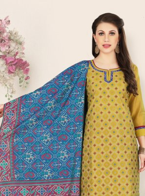 Embroidered Chanderi Green Designer Straight Salwar Suit