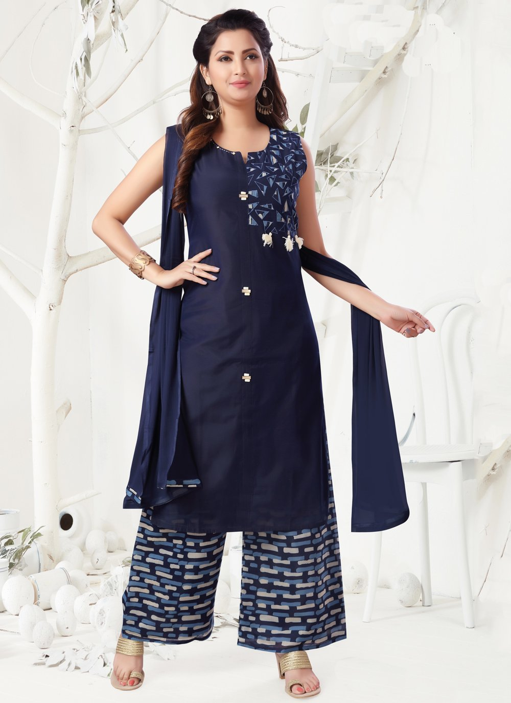 Embroidered Chanderi Navy Blue Designer Palazzo Suit