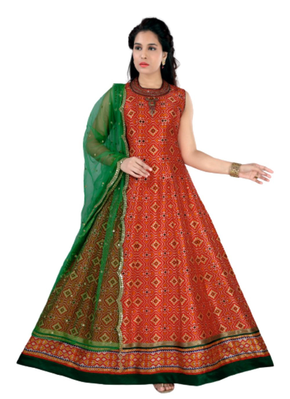 Embroidered Chanderi Red Anarkali Salwar Kameez