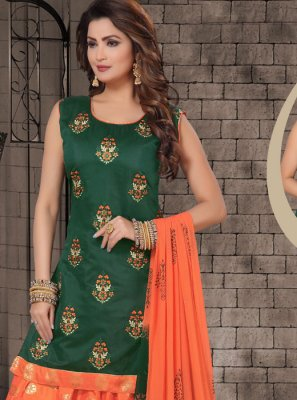 Embroidered Chanderi Salwar Kameez in Green