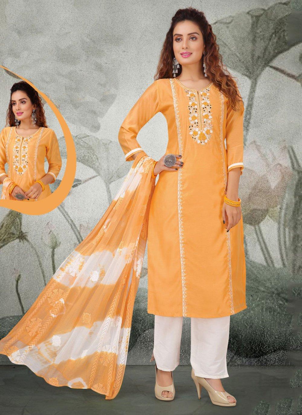Embroidered Chanderi Salwar Kameez in Yellow