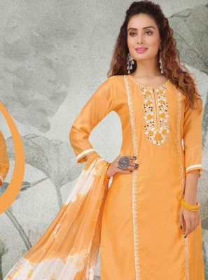 Embroidered Chanderi Salwar Kameez in Yellow