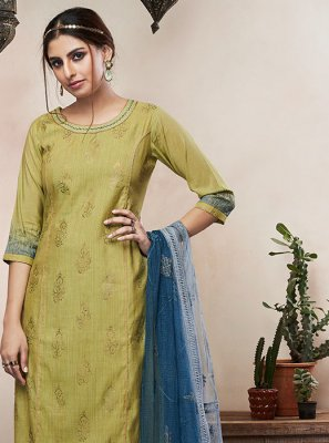 Embroidered Chiffon Satin Pant Style Suit