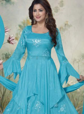 Embroidered Chinon Salwar Suit in Turquoise