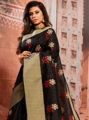 Embroidered Cotton Black Casual Saree