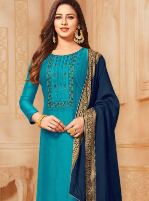 Embroidered Cotton Blue Churidar Salwar Kameez