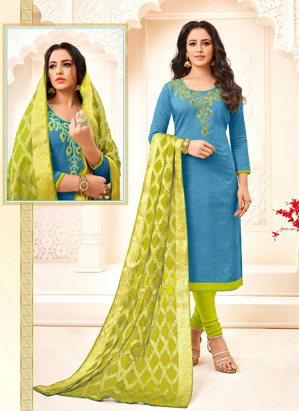 Embroidered Cotton Blue Trendy Churidar Salwar Kameez